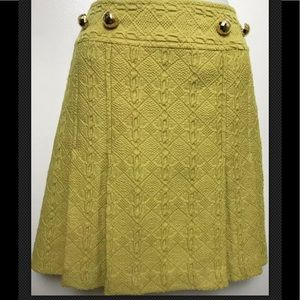MILLY New York Mustard Wool Knit A Line Pleated